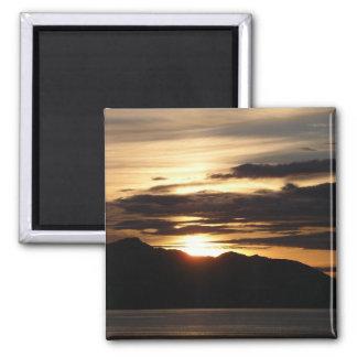 Alaskan Sunset III Beautiful Alaska Photography Square Magnet