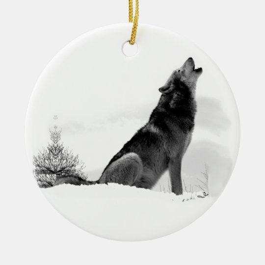 Alaskan Timber Wolf Christmas Ornament | Zazzle.co.uk