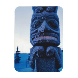 Alaskan Totem Pole Winter Night Photo Designed Rectangular Photo Magnet