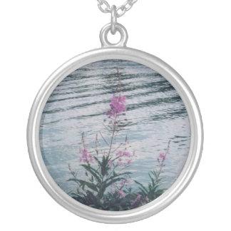Alaskan Wildflowers Round Pendant Necklace