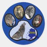 Alaskan Wolf Paw Print Sticker
