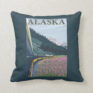 AlaskaRailroad and Fireweed Vintage Travel Cushion