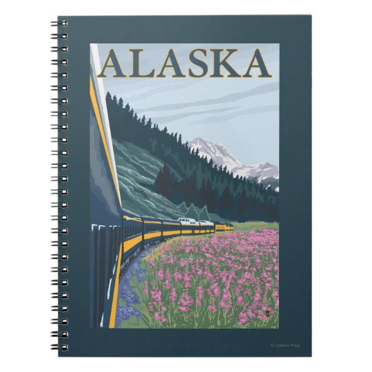 AlaskaRailroad and Fireweed Vintage Travel Spiral Notebook
