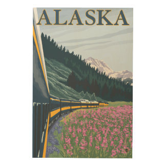 AlaskaRailroad and Fireweed Vintage Travel Wood Wall Art