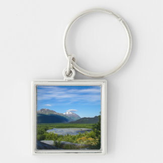 Alaska's Exit Glacier Valley Silver-Colored Square Key Ring