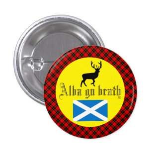 Alba Gu Brath Wallace Tartan Stag Badge Pinback Button