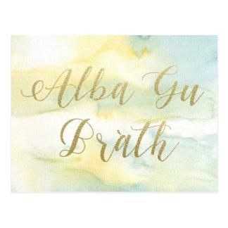 Alba Gu Brath Watercolour Gold Quote Postcard