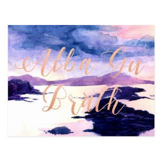 Alba Gu Brath Watercolour Rose Gold Postcard