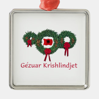 Albania Christmas 2 Silver-Colored Square Decoration