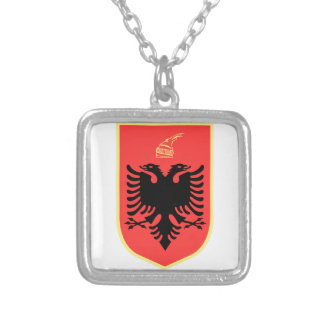 Albania Coat of Arms Square Pendant Necklace