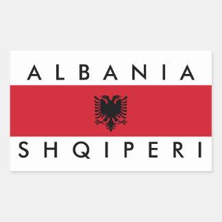 albania country long flag nation symbol name rectangular sticker