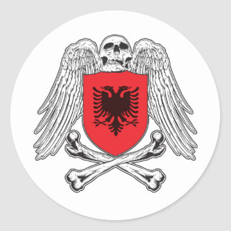 Albania Crossbones Classic Round Sticker