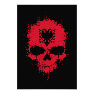 Albania Dripping Splatter Skull 9 Cm X 13 Cm Invitation Card