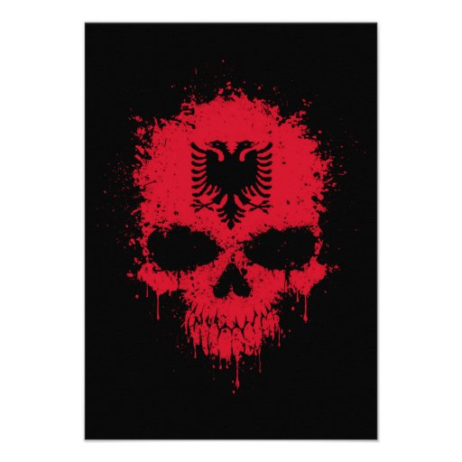 Albania Dripping Splatter Skull Invitations
