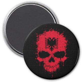 Albania Dripping Splatter Skull Magnet