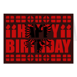 Albania Flag Birthday Card