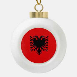 Albania Flag Ceramic Ball Christmas Ornament