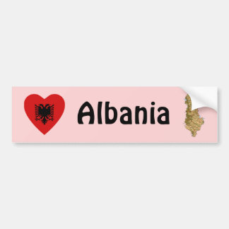 Albania Flag Heart + Map Bumper Sticker