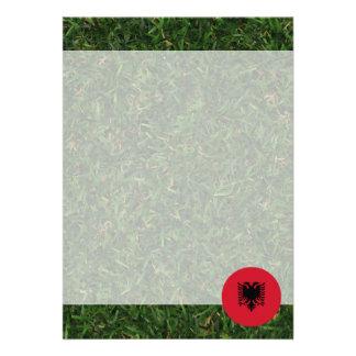 Albania Flag on Grass 13 Cm X 18 Cm Invitation Card