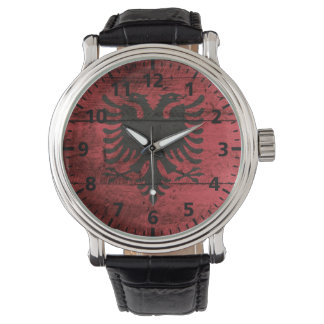 Albania Flag on Old Wood Grain Wrist Watch