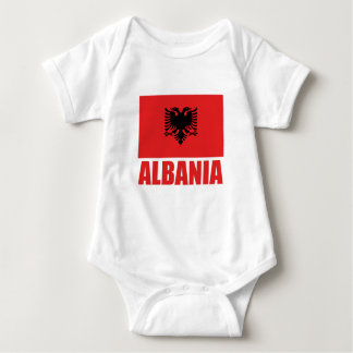 Albania Flag Red Text Baby Bodysuit