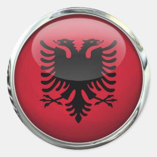 Albania Flag Round Glass Ball Classic Round Sticker