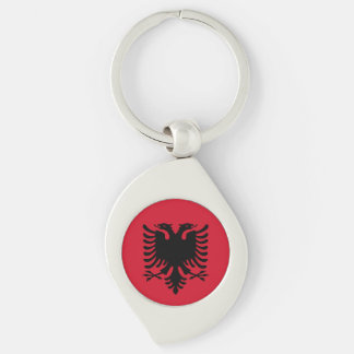 Albania Flag Silver-Colored Swirl Key Ring