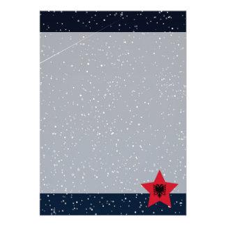Albania Flag Star In Space 13 Cm X 18 Cm Invitation Card