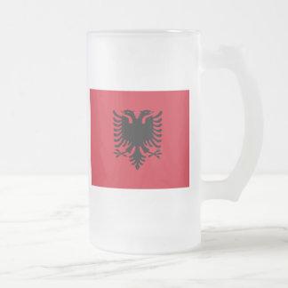 albania frosted glass beer mug