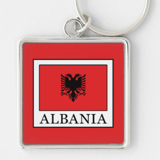 Albania Silver-Colored Square Key Ring