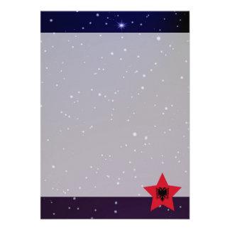 Albania Star Design Flag 13 Cm X 18 Cm Invitation Card