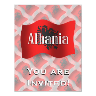 Albania Waving Flag 11 Cm X 14 Cm Invitation Card