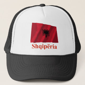 Albania Waving Flag with Name in Albanian Trucker Hat