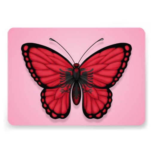 Albanian Butterfly Flag on Pink Invite