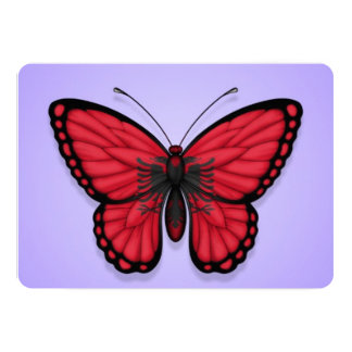 Albanian Butterfly Flag on Purple 5x7 Paper Invitation Card