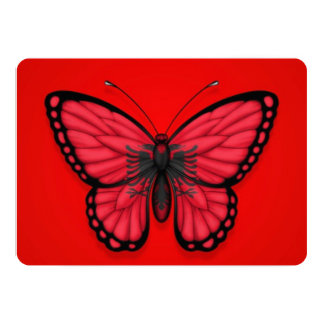 Albanian Butterfly Flag on Red Invitation