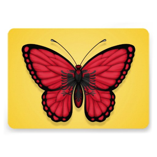 Albanian Butterfly Flag on Yellow Invitation