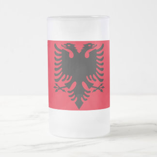 Albanian Coat of arms Frosted Glass Beer Mug