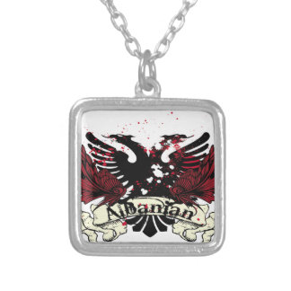 albanian eagle silver plated necklace
