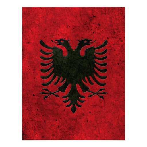 Albanian Flag Aged Steel Effect Invitations