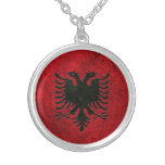 Albanian Flag Aged Steel Effect Necklaces