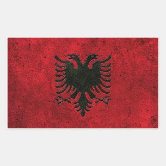 Albanian Flag Aged Steel Effect Rectangular Sticker