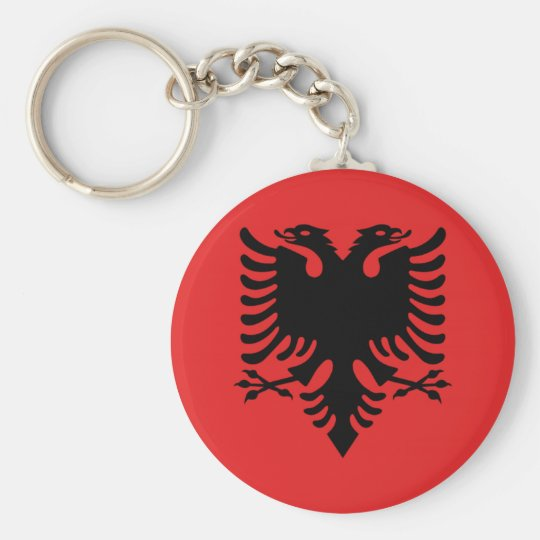 Albanian flag button key ring
