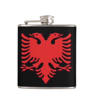 Albanian Flag Double Headed Eagle In Red Hip Flask