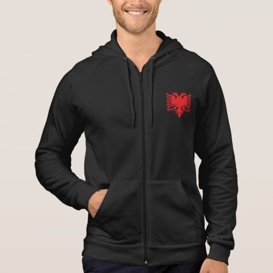 Albanian Flag Double Headed Eagle In Red Hoodie