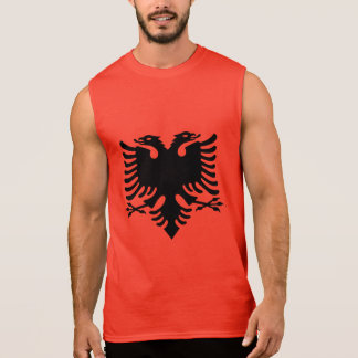 Albanian Flag Double Headed Eagle On Red Fabric Sleeveless Shirt