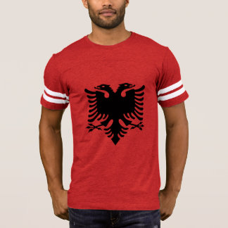 Albanian Flag Double Headed Eagle On Red Fabric T-Shirt