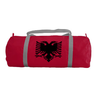 Albanian Flag Double Headed Eagle On Red Gym Duffel Bag