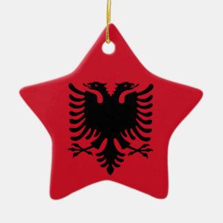 Albanian Flag on Ceramic Star Pendant Christmas Ornament