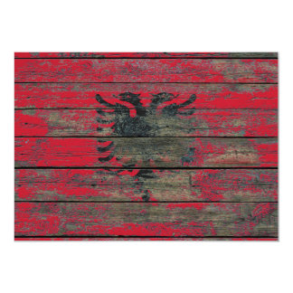 Albanian Flag on Rough Wood Boards Effect 13 Cm X 18 Cm Invitation Card